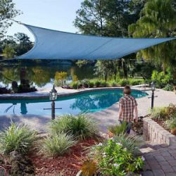 Ready-made sun sail shade-breathable fabric square with inox rings