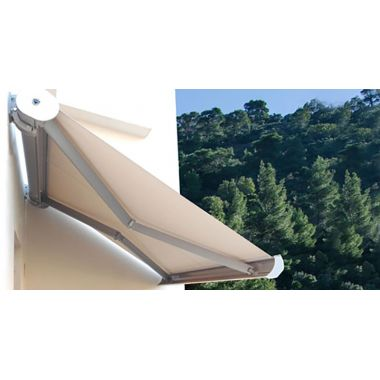 Cassette type awning system with folding arms