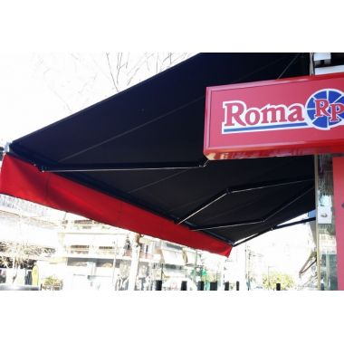 Awning with folding arms